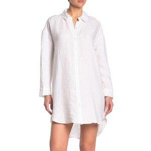 NWT James Perse High-Low Linen Shirt dress White 1